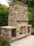 Ebel natural bed building stone exterior fireplace with wood boxes