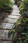 Ebel Beige pebbletop square cut flagstone stepping stones creating a walkway through lush flower beds